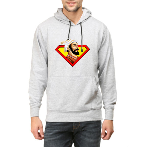 Shivaji Maharaj Super man hoodie sweat shirt india best price free delivery cod capistan club grey melange hoodie for men
