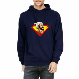 Shivaji Maharaj Super man hoodie sweat shirt india best price free delivery cod capistan club navy blue Tshirts for men