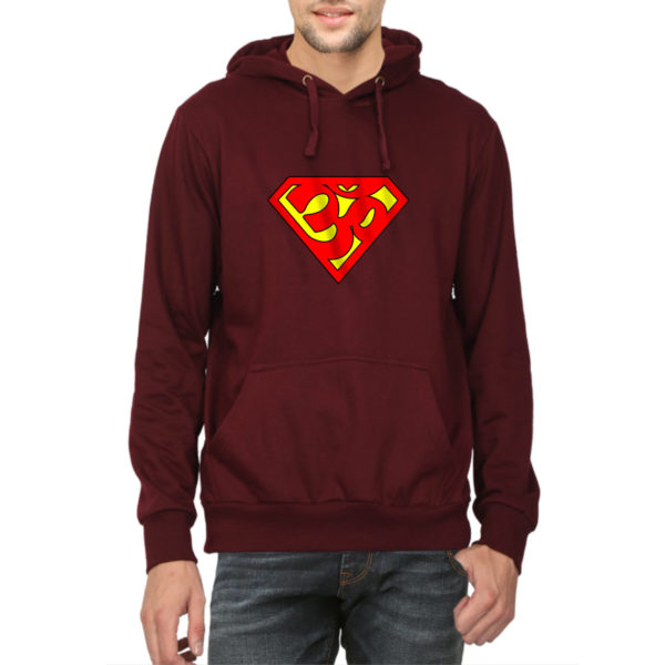 Super Aum Super man Unisex hoodies india quality price capistan club maroon sweat shirts for men