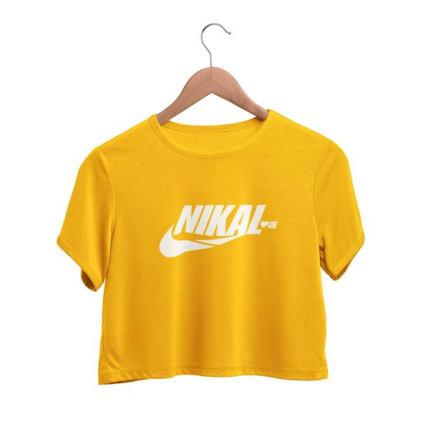 Nikal Lavde funny crop top golden yellow Rupees 449 buy now capistan club india free shipping