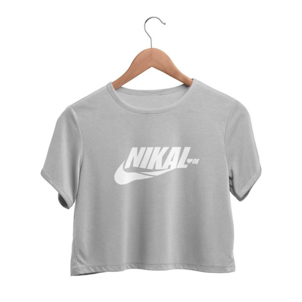 Nikal Lavde funny crop top melange grey Rupees 449 buy now capistan club india free shipping