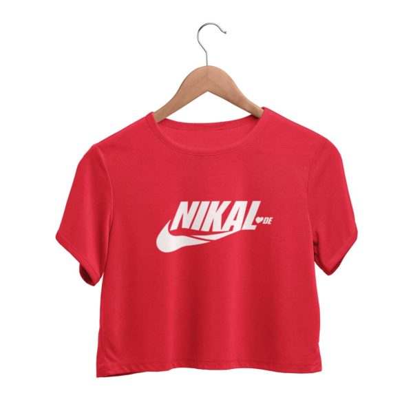 Nikal Lavde funny crop top red Rupees 449 buy now capistan club india free shipping