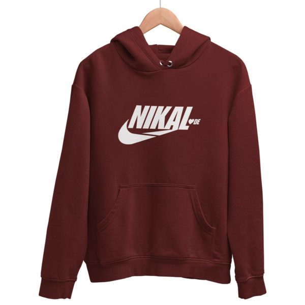 Nikal Lavde laude funny hoodie sweat shirt maroon Rupees 449 buy now capistan club india free shipping