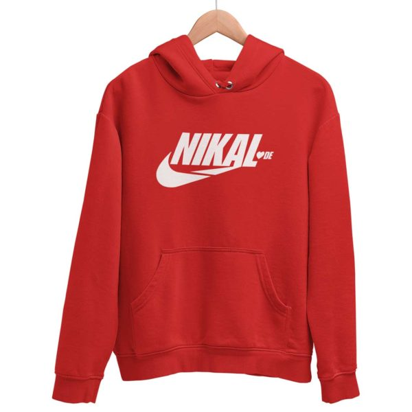 Nikal Lavde laude funny hoodie sweat shirt red Rupees 449 buy now capistan club india free shipping