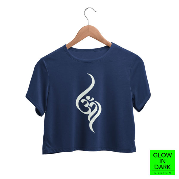 Aum OM Glow in dark radium T shirt bewakoof flipkart sould store best price free delivery cod capistan club navy blue crop top for women