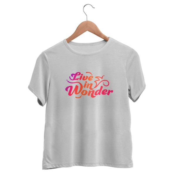 Live in wonder graphic melange grey t shirts women Rupees 349 buy now capistan club india free shipping