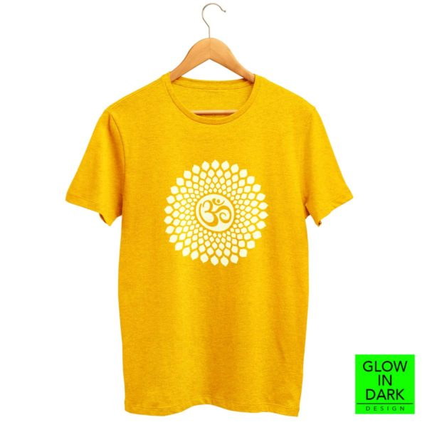 OM Glow in dark radium golden yellow T shirt bewakoof flipkart sould store best price free delivery cod capistan club crop top for women men lowest price free shipping cash on delivery india dark