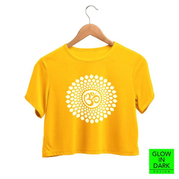 OM Glow in dark radium golden yellow crop top shirt bewakoof flipkart sould store best price free delivery cod capistan club crop top for women men lowest price free shipping cash on delivery india