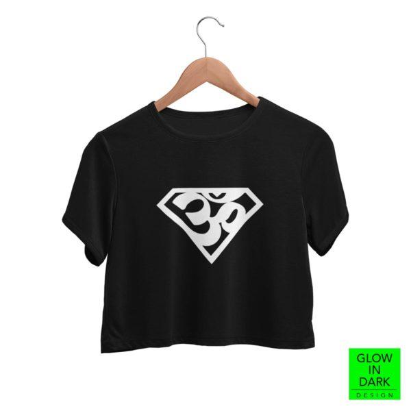 Super AUM Glow in dark black round neck crop top best price cash on delivery free shipping women capistan club