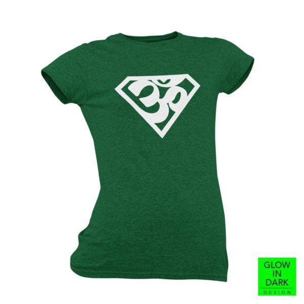 Super AUM Glow in dark bottle green round neck T shirt best price cash on delivery free shipping women capistan club