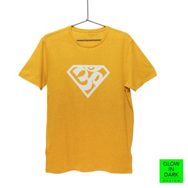 Super AUM Glow in dark golden yellow round neck T shirt best price cash on delivery free shipping men women capistan club
