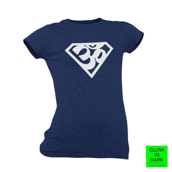 Super AUM Glow in dark navy blue round neck T shirt best price cash on delivery free shipping women capistan club