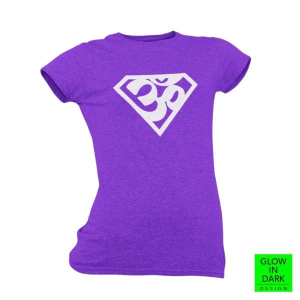 Super AUM Glow in dark purple round neck T shirt best price cash on delivery free shipping women capistan club