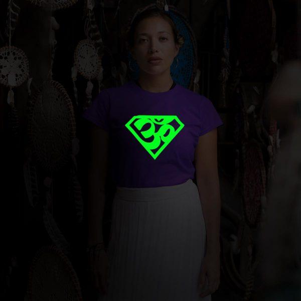 Super AUM Glow in dark purple round neck T shirt best price cash on delivery free shipping women capistan club dark