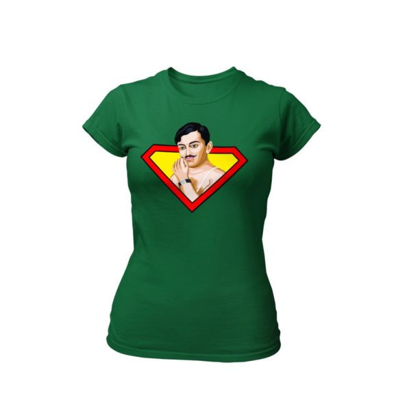 chandrashekhar azad bottle green round neck Tshirt for women best price cash on delivery free shipping capistan club souled store jabong amazon myntra