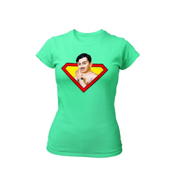 chandrashekhar azad flag green round neck Tshirt for women best price cash on delivery free shipping capistan club souled store jabong amazon myntra