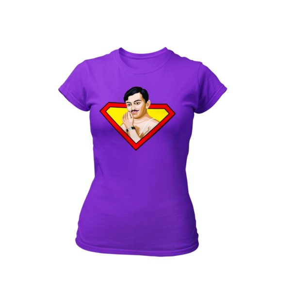 chandrashekhar azad purple round neck Tshirt for women best price cash on delivery free shipping capistan club souled store jabong amazon myntra