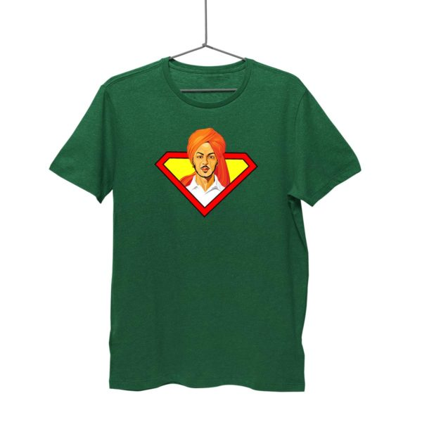 Bhagat Singh Tshirt | Bottle Green. Round neck for men. Cash on delivery. Free-shipping. Best price only on Capistan Club