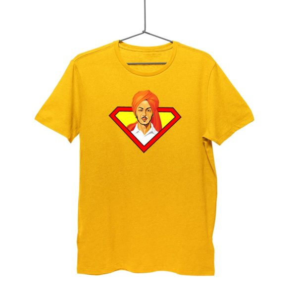 Bhagat Singh T-shirt | Golden Yellow. Round neck for men. Cash on delivery. Free-shipping. Best price only on Capistan Club.